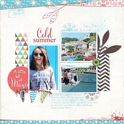 Cold summer digital scrapbook template page