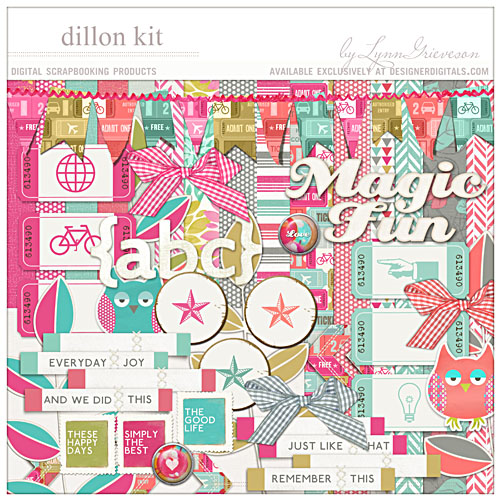 Dillon bold bright digital scrapbooking kit