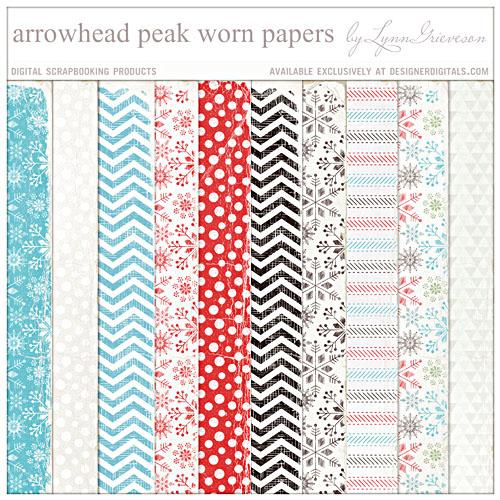 Arrowhead peak worn digital scrapbooking background papers