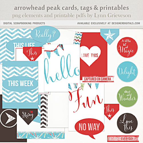 Arrowhead peak printables cards and tags for project life pages etc