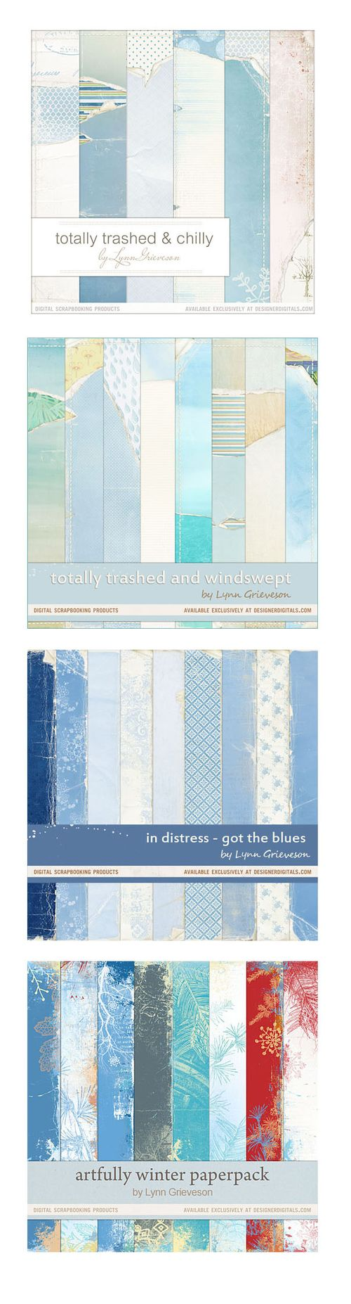 Blue digital scrapbooking background papers