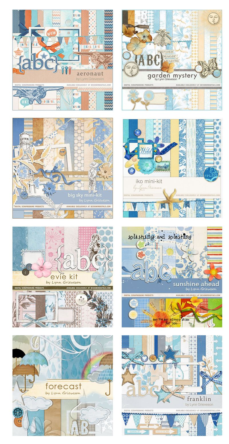 Blue digital scrapbooking kits
