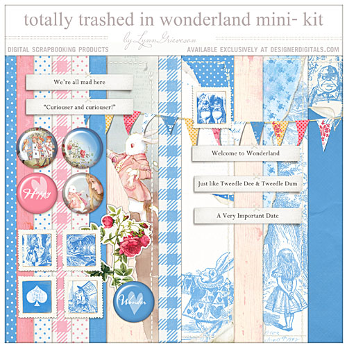 Alice in Wonderland digital scrapbooking kit