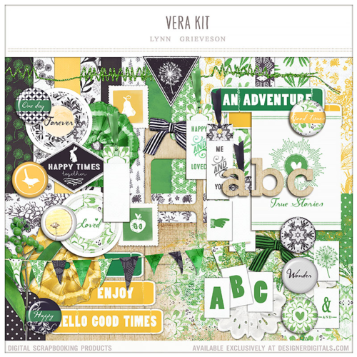 Yellow and Green digital scrapbooking kit