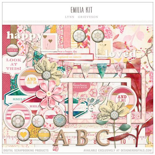 emilia pink floral spring digital scrapbooking kit