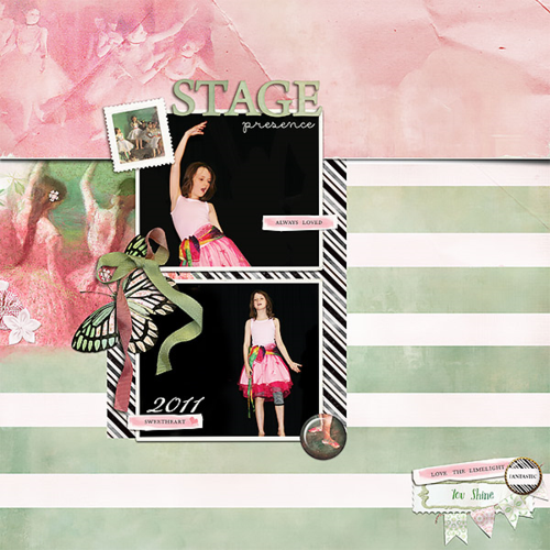 Shine dance digital scrapbook page margot kit