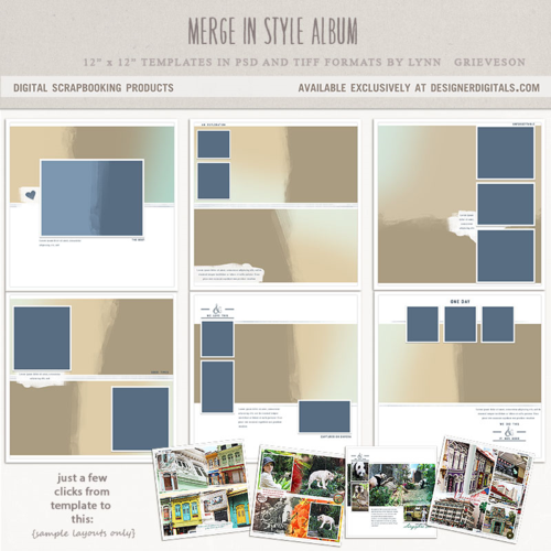 Merge in style digital scrapbook templates photobook