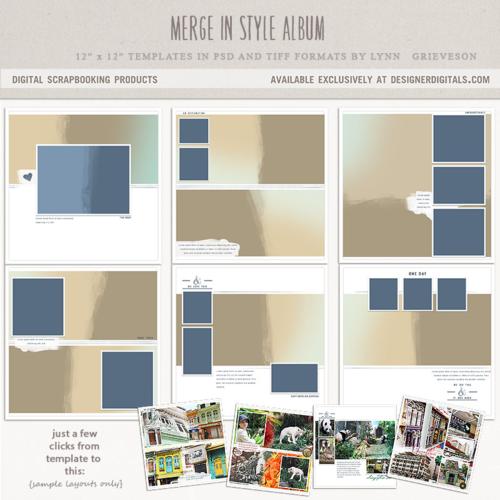 Merge in style digital scrapbook templates photobook