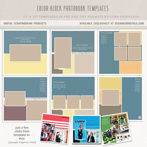 color block digital scrapbooking template photobook