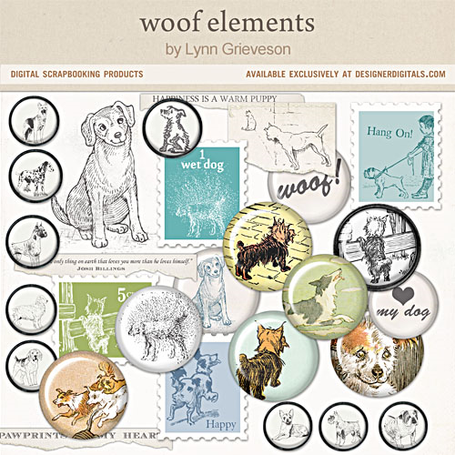 woof digital scrapbooking supplies dogs