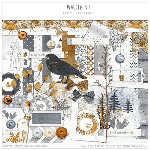 Walden winter digital scrapbook kit