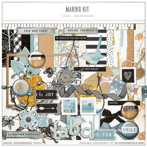 Mariko digital scrapbook kit Lynn Grieveson