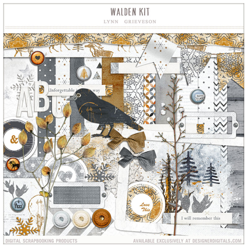 winter themed digital scrapbooking kit walden kit