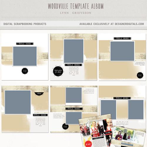 Woodville album digital scrapbooking photoshop photobook templates