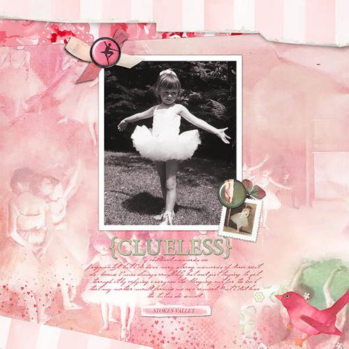 vintage ballet dance digital scrapbook page