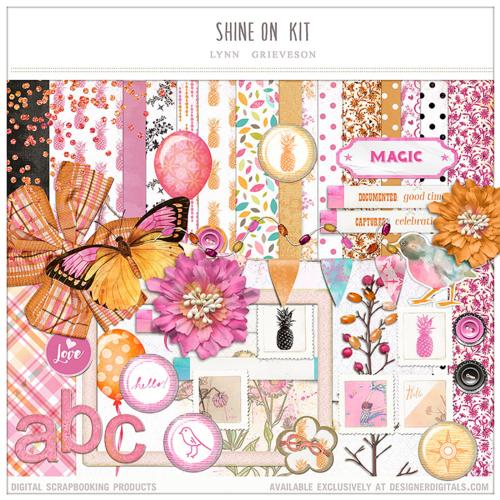 pink orange digital scrapbook kit